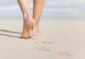 Woman walking on the beach.