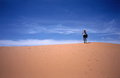 Walking on the dunes., Coral Pink Sand Dunes State Park, Utah, United States of America, North America