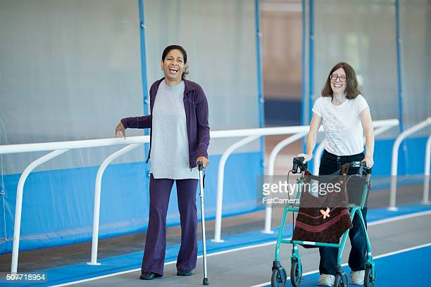 Walking on the Track for Physical Therapy