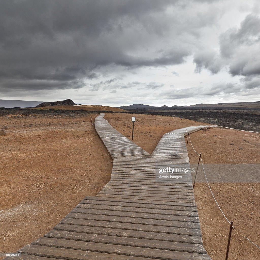 Walking paths, Geothermal volcanic area : Stock Photo