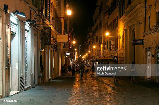 Walking through Rome at night