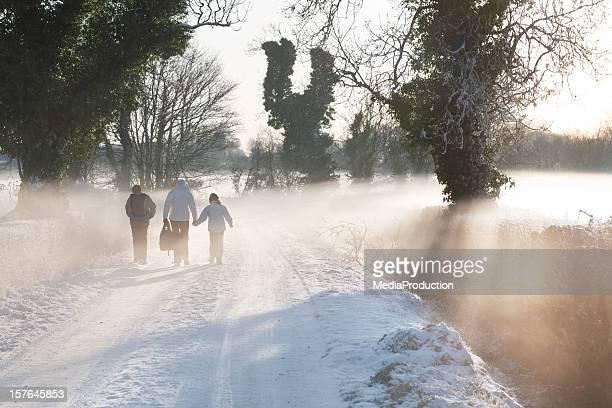 Walking to school in winter