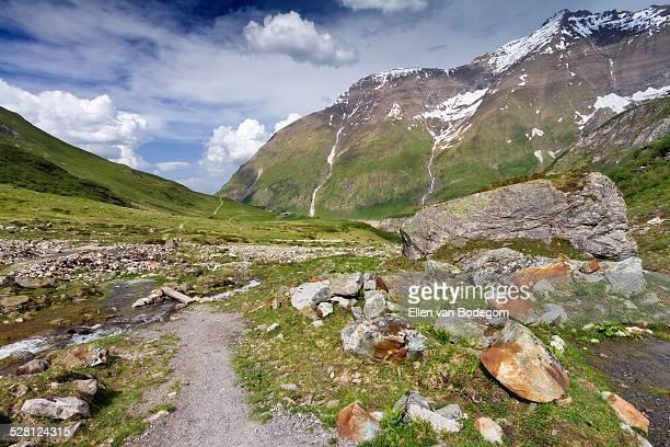 Walking trail in Hohe Tauern mountain range