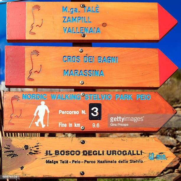 Walking trails signs in South Tyrol Italy