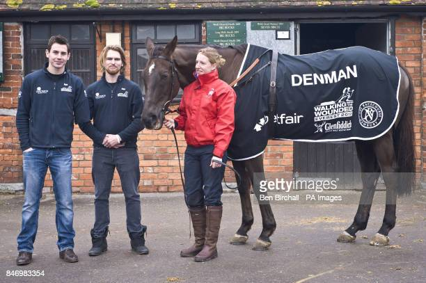 Walking With The Wounded team members Jaco van Gass and Karl Hinett are pictured with Lucinder Gould and champion horse Denman after presenting the...