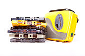 Walkman and cassettes on white background,Audio Player and cassettes.