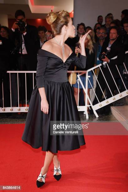 walks Laura Adriani the red carpet ahead of the 'Emma ' screening during the 74th Venice Film Festival at Sala Grande on September 7 2017 in Venice...