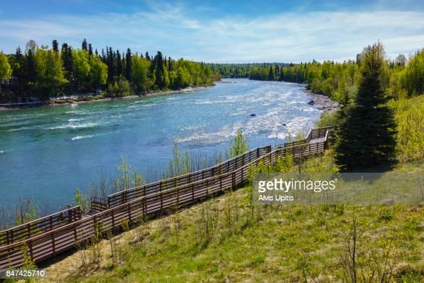 Walkway and fishing platforms along Kenai River in Kenai Alaska