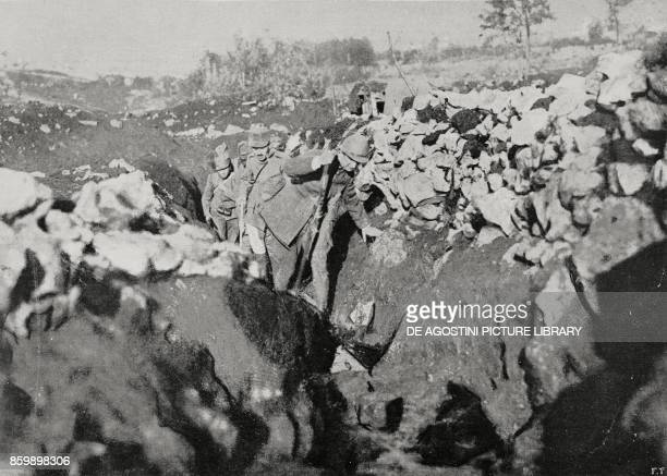 A walkway near Castelnuovo Italy Isonzo front World War I from L'Illiustrazione Italiana Year XLIII No 5 January 30 1916