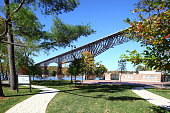 Poughkeepsie, NY, USA - October, 27, 2014: Walkway Over the Hudson State Historic Park located between Poughkeepsie and Highland, New York has become a tourist destination, as a pedestrian walkway is