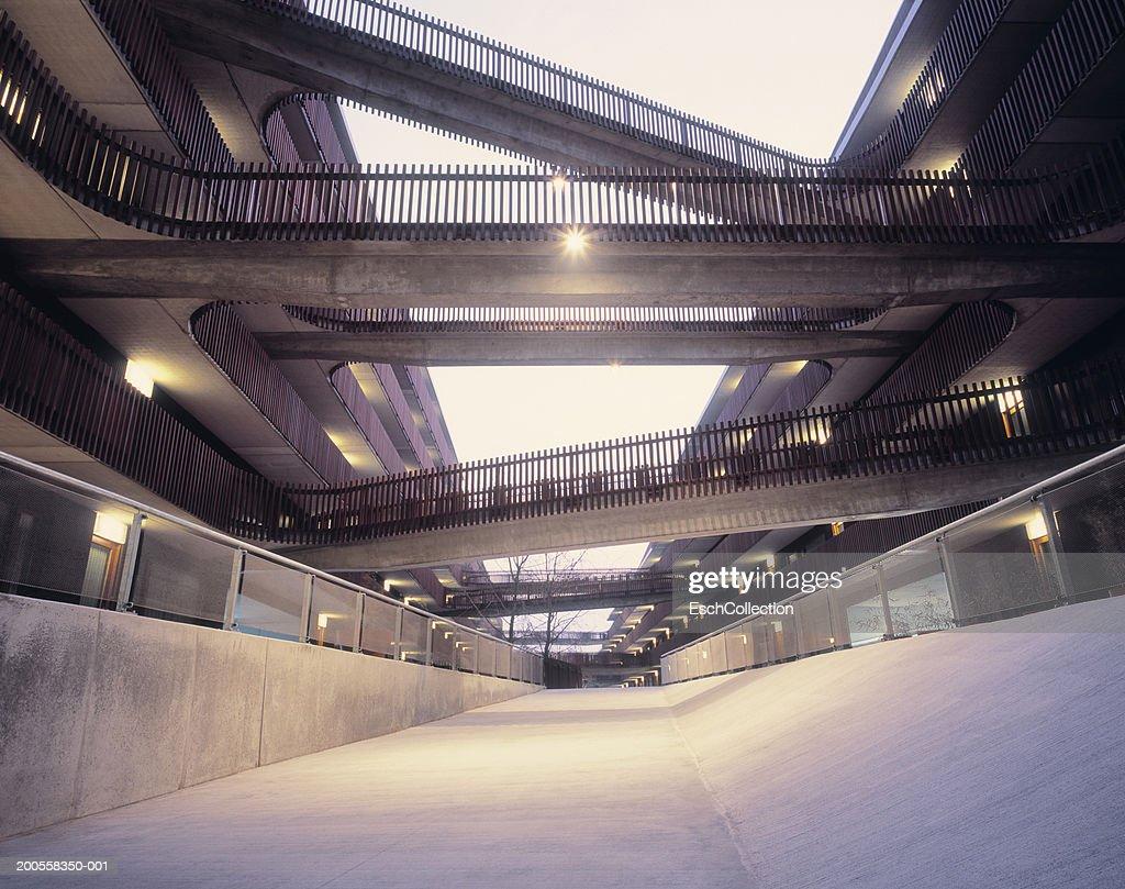 Walkways between two buildings, low angle view