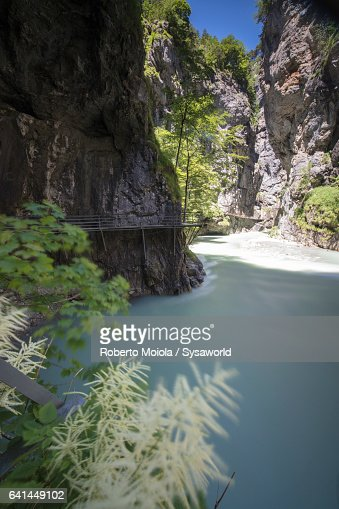 Walkways on the creek Aare Gorge Switzerland