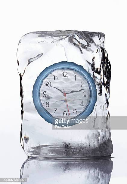 Wall clock in block of ice