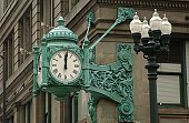 Wall clock on Marshall Fields Building in Chicago