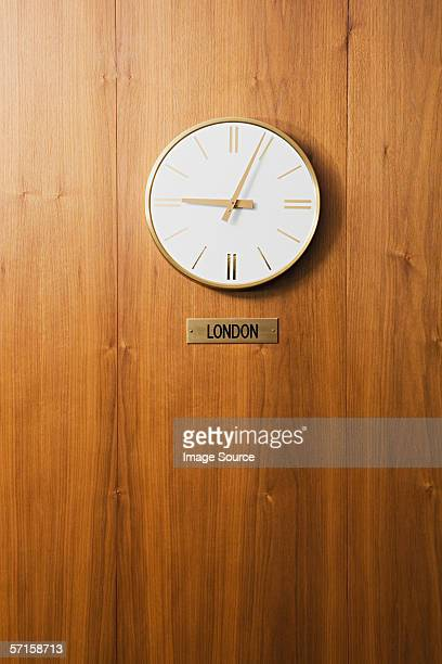 Wall clock showing London time