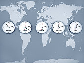 5 wall clocks at stock exchanges