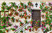 Wall decorations of flowers in Cordoba, Spain Andalusia.