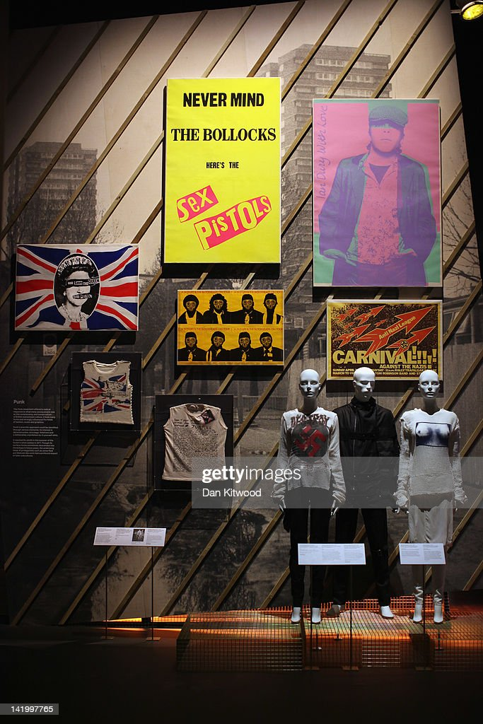 A wall dedicated to the 'Punk' movement is display at the Victoria and Albert museums' new major exhibition, 'British Design 1948-2012: Innovation In The Modern Age' on March 28, 2012 in London, England. The exhibition showcases some of the most iconic product design, fashion, furniture, graphics, architecture and fine art from the last 60 years, and opens to the public from March 31, 2012.