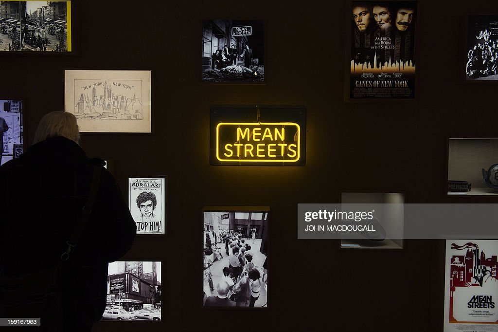 A wall features memorabilia and photographs from films such as Mean Streets, The Gangs of New York and Taxi Driver at the Martin Scorsese exhibition at the Deutsche Kinemathek, Museum for Film and Television in Berlin, Germany on January 9, 2013. The museum opens from January 10 to May 12, 2013 what it calls the first exhibition worldwide dedicated to the work of veteran US film-maker Martin Scorsese, who made his vast archive available for the show. A