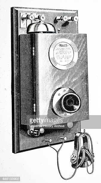 Wall form of Phelp's Duplex telephone used by the American Telephone Company From George B Prescott The speaking telephone New York 1879