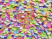 Wall full of multi colored adhesive papers with positive messages on it, this wall is inside Our Lady of Victory Church in Prague.
