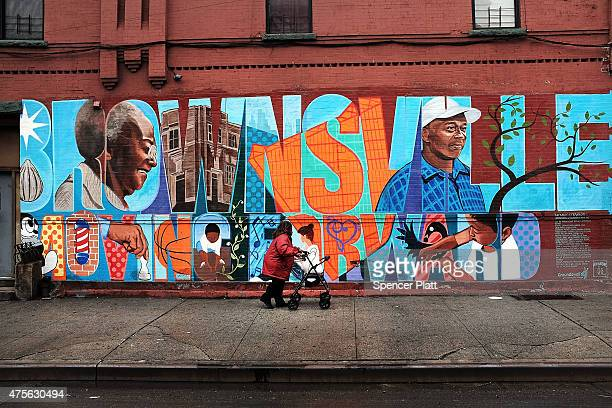 A wall is painted with the word 'Brownsville' in the crime ridden Brownsville section of Brooklyn on June 2 2015 in New York City Following news of a...