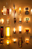 Wall lamps on display in lights store