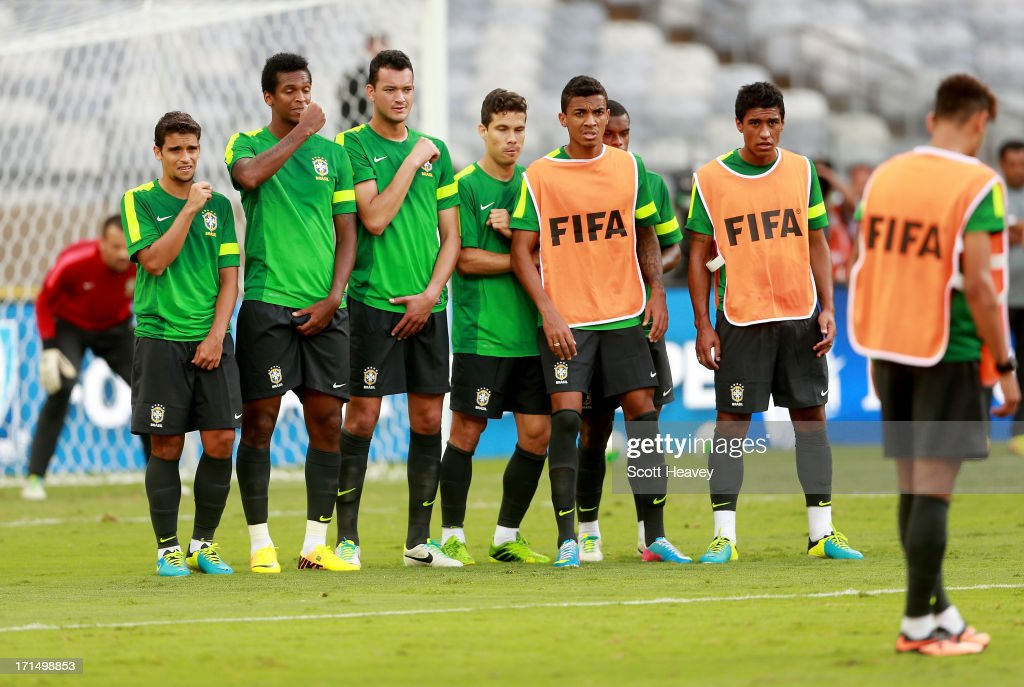 A wall lines up to face a Neymar free kick during a Brazil training session ahead of their FIFA Confederations Cup 2013 Semi Final match against Uruguay on June 25, 2013 in Belo Horizonte, Brazil.