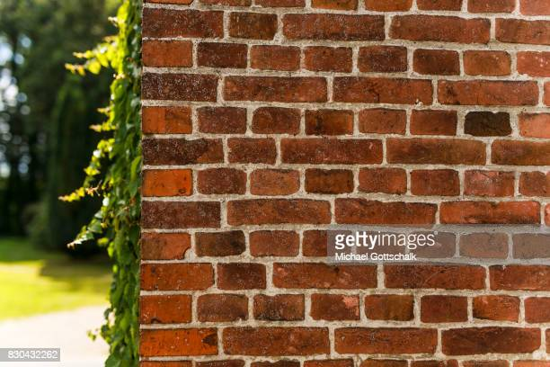 A wall made by red brick stones at Kanow mill Sagritz on August 09 2017 in Golssen Germany