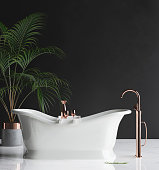 Wall mock-up in luxury minimalist bathroom, 3d render