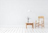 Wall mock-up in Scandinavian style interior, 3d render