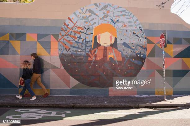 A wall mural by artist Kyle Hughes Odgers is seen painted on the side of a house on August 7 2017 in Newtown Australia Perfect Match is an Inner West...