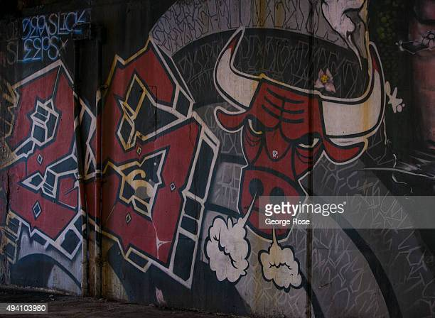 A wall mural featuring the Chicago Bulls is painted under a Lake Shore Drive overpass as viewed on October 10 2015 in Chicago Illinois Chicago the...