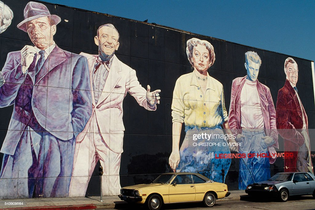 Wall mural for an American film studio in Hollywood gives homage to Humphrey Bogart Gene Kelly Bette Davis James Dean and Clark Gable