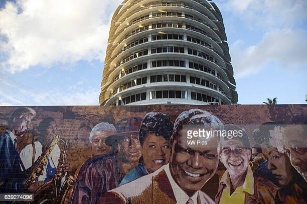 Wall Mural in front of Capitol Records Building Hollywood California USA