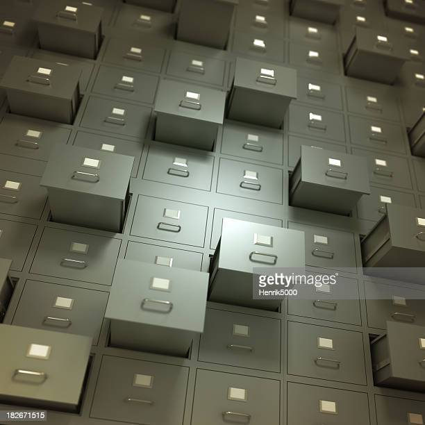 Wall of filing cabinets, some drawers open - isolated/clipping path