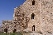 Kerak castle, wall of a medieval crusaders  fortress in Jordan
