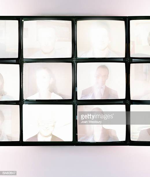 Wall of monitors displaying portraits (Digital Composite)
