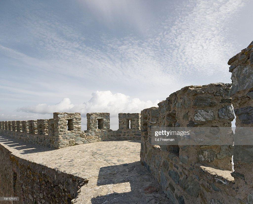 Wall of Portel Castle, Portel, Baixo Alentejo, Portugal : Stock Photo