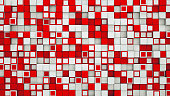 Wall of red and white cubes. Abstract background. 3D illustration