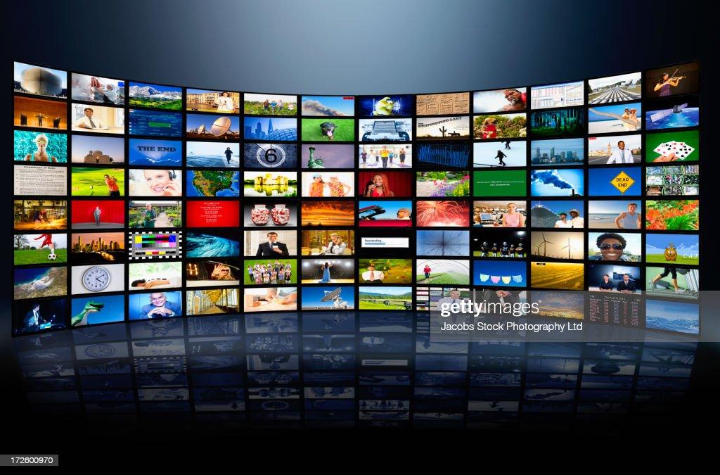 Wall of television screens : Foto de stock