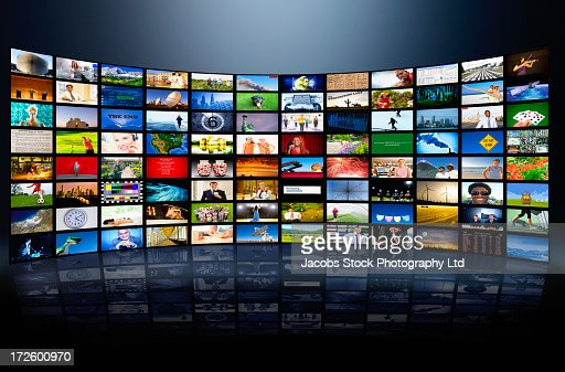 Wall of television screens