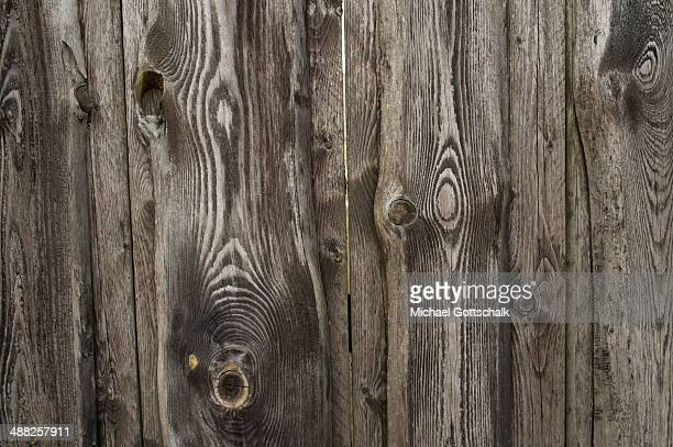 Wall of wooden slats on April 19 2014 in Triepkendorf Germany