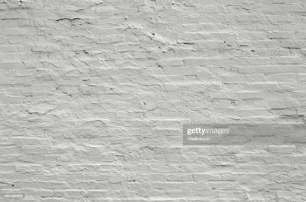 Wall old brick painted white : Stock Photo