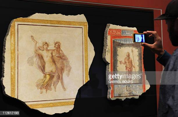 Wall or ceiling fragments with a Maenad Bacchus Ariadne and a satyr are on display at the Getty Villa Museum in Malibu California on April 18 2011...