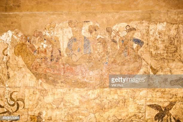 Wall painting Afrosiab Museum also known as Afrosiyob Museum Samarkand Uzbekistan
