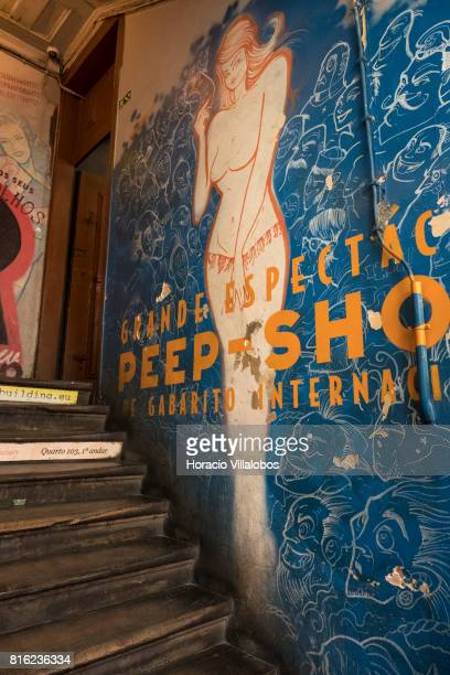 Wall painting at the staircase evoking peepshows of former times at 'Pensao Amor' on July 14 2017 in Lisbon Portugal 'Pensao Amor' used to be a five...