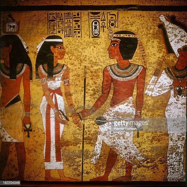 Wall painting from the north wall of the burial chamber of Tutankhamun Tutankhamun identified by the cartouche above his figure has entered the realm...
