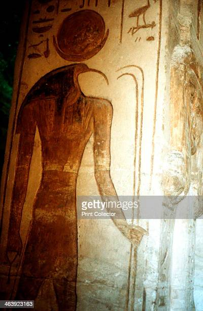 Wall painting from the Temple of Rameses II Abu Simbel Egypt 13th century BC Thoth Ibisheaded god of the Moon patron of scribes and magicians and...