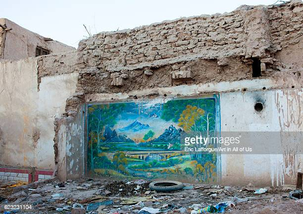 Wall painting in the ruins of a demolished house Old town of Kashgar Xinjiang Uyghur Autonomous Region China on September 22 2012 in Kashgar China